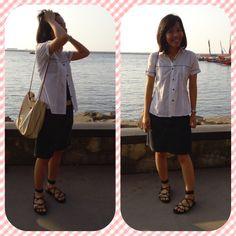 #short #jeans #gladiator #sandals #white #shirt #bag