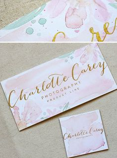 Maria C. Gold Foil and Watercolor Branding Stationery #Design