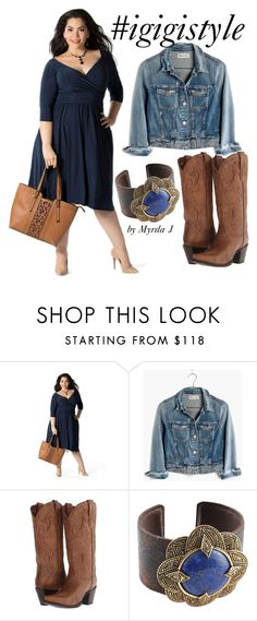"""""""IGIGI Steph Dress in Navy styled by Myrda J Plus Size Stylist"""" by mjmonasterial on Polyvore featuring Madewell, Dan Post and Barse"""