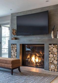 Living Room Decor Fireplace, Home Fireplace, Fireplace Remodel, Home Living Room, Living Room Designs, Fireplace Ideas, Gas Fireplaces, Modern Fireplaces, Concrete Fireplace
