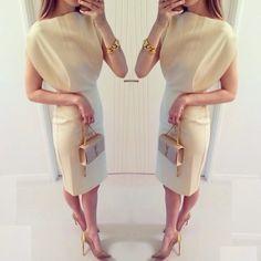 Nude elegance with YSL bag. #nude #elegant