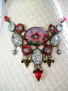 Spring Garden Vintage Hanky necklace by FactoryGirlDesigns on Etsy, $145.00