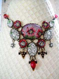 Spring Garden Vintage Hanky necklace by FactoryGirlDesigns on Etsy, $145.00