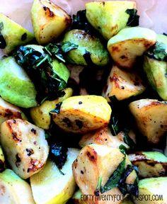 Herb roasted patty pan squash