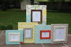 the kayla collection...distressed frames mixed & matched baby girl nursery grouping via Etsy:  Ruby and Lucy Distressed frames