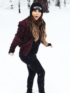 black and maroon outfit   Becky G