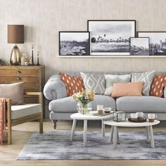 Grey and orange living room. Create a relaxed and cosy space for family gatherings with this rich orange and grey palette. A neutral backdrop, a pale grey sofa, oak-effect flooring and soft rugs set the scene. Add warmth and texture with chunky wooden furniture, a few copper finishes and ikat prints. Sofa, Marks & Spencer Sideboard, Graham & Green.