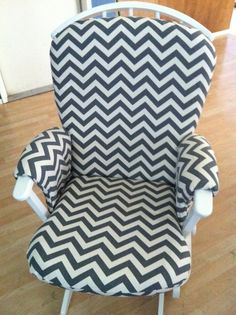 I mentioned in my last post that I scored a sweet Dutailier glider from a yard sale a few weeks ago. It was butter yellow and, problematically, didn't have a washable cover. Using this tutori… Recover Glider Rocker, Glider Redo, Glider Slipcover, Glider Rocker Cushions, Glider And Ottoman, Baby Nursery Decor, Girl Nursery, Nursery Ideas, Furniture Fix