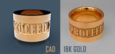 CAD model and 18K gold men's band.