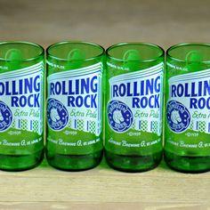 Rolling Rock, favorite beer of all time! Beer Bottle Glasses, Wine Bottle Art, Diy Glasses, Wine Bottles, Rolling Rock Beer, Bottle Cutting, Alcohol Bottles, Diy Crafts For Gifts, Bar Drinks