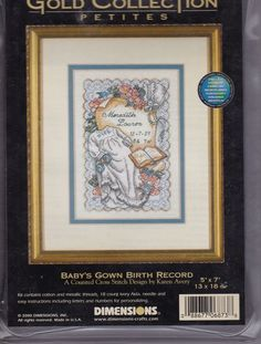 Baby's Gown Birth Record Dimensions Gold Petites Counted Cross Stitch Kit #DimensionsGoldCollectionPetites #Frame
