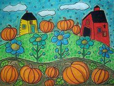 12x9 Pumpkin Patch, original oil pastel, copyrighted, www.karlagerard.com