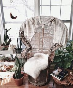 """sailorv: """" Thanks Denton Thrift for the super cheap j.crew scarf that's now a throw on my peacock chair ✌️ """" Bohemian Interior, Bohemian Decor, Wicker Peacock Chair, Deco Boheme, Wicker Furniture, Trendy Bedroom, Bedroom Inspo, My New Room, Home Interior Design"""