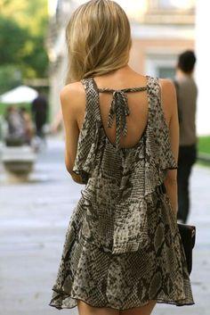 flirty snake skin dress with open back...would look cute on shannen