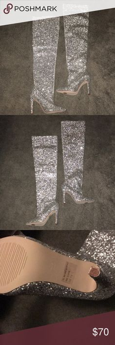 Glitter thigh high boots Silver thigh high boots brand new I love them 😍 they just don't fit I got them from a boutique in nyc Shoes Heeled Boots