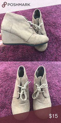 Forever Wedges! Tan booted wedges. Ties up the front! Forever Unique Shoes Ankle Boots & Booties