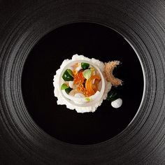 Kampachi with golden trout roe, pomelo and Thai basil by chef Curtis Duffy of Grace Restaurant from Chicago. Photo by @_plate #TheArtOfPlating