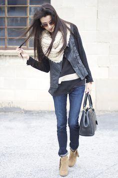 Great jacket. Infinity scarf. Via Hello Fashion