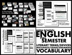FULL YEAR OF ENGLISH CLASS VOCABULARY, GRAMMAR, AND LITERARY TERMS, DEVICES - TeachersPayTeachers.com