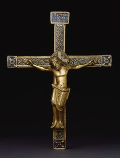 Belgian (Meuse River Valley) or  German (Rhineland), Crucifix, c. 1150 and later (?)  Gilded copper and enamel Overall to Spike: 21.9 x 13.2 cm (8 5/8 x 5 3/16 in.); Cross: 16.8 x 13.2 cm (6 5/8 x 5 3/16 in.); Corpus H: 9.8 cm (3 7/8 in.) Inscription on cross: IH[ESUS] C[HRISTUS]. NAZAREN[US]. REX IUDEORU[M].Art Institute of Chicago