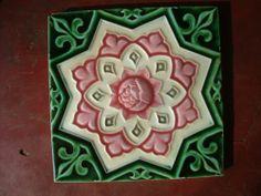 vintage Japanese liberty brand art nouveau pink rose tile