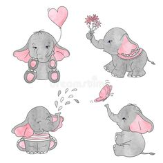Set of cute cartoon baby elephants. Set of cute cartoon baby elephan Cute Elephant Drawing, Cute Elephant Cartoon, Elephant Sketch, Cute Baby Elephant, Elephant Illustration, Elephant Art, Watercolor Illustration, Baby Elephants, Elephant Drawings