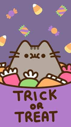 pusheen the cat iphone wallpaper background halloween fall autumn trick or treat candy corn Phone Background Wallpaper, Cover Wallpaper, Kawaii Wallpaper, Cute Wallpaper Backgrounds, Wallpaper Iphone Cute, Cute Wallpapers, Phone Backgrounds, Mobile Wallpaper, Iphone Wallpapers