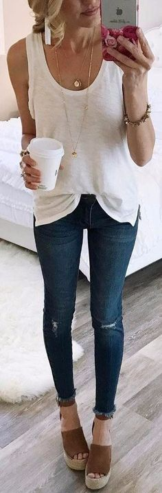 #summer #outfits White Tank + Ripped Skinny Jeans + Brown Wedge // Shop this exact outfit in the link
