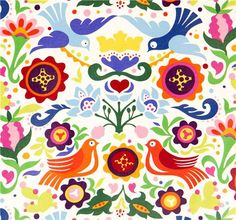 white doves and flowers laminate fabric by Alexander Henry