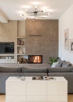 ideas home sala lareira Home Fireplace, Modern Fireplace, Living Room With Fireplace, Fireplace Design, Fireplaces, Apartment Backyard, Bedroom Apartment, Sweet Home, Scandinavian Apartment