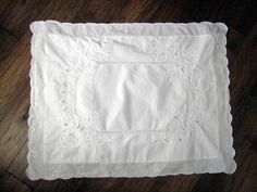 Vintage Cotton Pillow Sham,White Cotton, Vintage Cutwork Pillow Sham at Designs By Willowcreelk on Etsy by DesignsByWillowcreek on Etsy