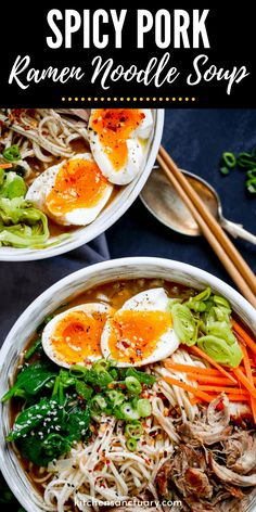 Spicy Pork Ramen Noodle Soup Spicy Pork Ramen Noodle Soup is one incredible comfort food. Tender noodles, loaded with fresh veggies, and an egg. Serve this up for dinner tonight. Pork Ramen Recipe, Pork Recipes, Asian Recipes, Cooking Recipes, Easy Ramen Recipes, Homemade Ramen Noodle Recipes, Asian Egg Noodle Recipes, Homemade Ramen Broth, Best Ramen Recipe
