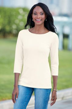 3/4 Sleeve Boatneck Soft Essentials Tee. You'll want to wear this gorgeous soft shirt all summer long. Pair this neutral colored top with pants, jeans, sweaters - anything!