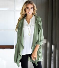 b05be41732fce Fashion Ladies Women jacket Turn Down Neck Long Sleeve Drawstring Waist  Front Open Cardigan Coat Casual Loose Wind Coat S-XL