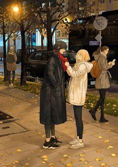 "Are you cold? I just got here a short while ago…"" Tan Jiu Anime Girlxgirl, Yuri Anime, Anime Comics, Anime Guys, Anime Love, Anime Art Girl, Manga Art, Anime Couples, Cute Couples"