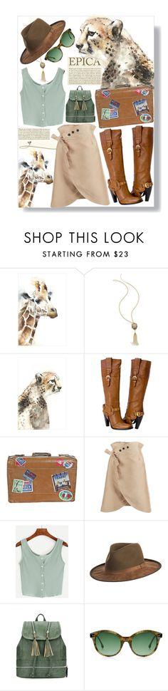 """Safari"" by xoxolua ❤ liked on Polyvore featuring Leftbank Art, Thalia Sodi, Overland Sheepskin Co., GetTheLook, hats and safari"