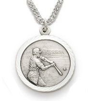 "Sterling Silver Boy's Baseball Medal, St Christopher on Back Sports Jewelry Boys Sports Patron Saint St Medal Catholic with St Christopher on Back w/Chain 20"" Length"