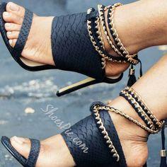 Shoespie Black Embossed Ankle Wrap Heel Sandals