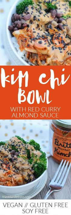 Kimchi is not only extremely tasty, but its probiotic qualities also help your gut health. In this bowl, the kimchi is nestled among brown rice, broccoli, adzuki beans, and a spicy red curry almond sauce; it's a flavor explosion! via @frieddandelions