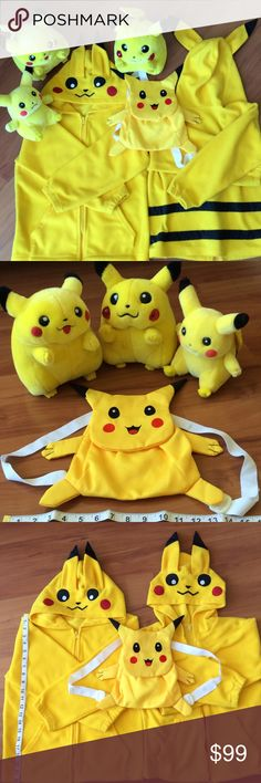 Pokémon Pikachu collection All 6 pieces. Including 3 stuffed animals, the middle size the lighting device on cheeks doesn't work. Backpack is new and never used. Jackets are children medium size, zipper is broke and large size. Made of fleece fabric. Show signs of wears. Some flaws on sleeves. Jackets & Coats