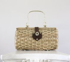 Vintage Brown Wood & Leather Purse - 1960s Woven Wicker Boho Retro Fashion Bag / Summer Picnic