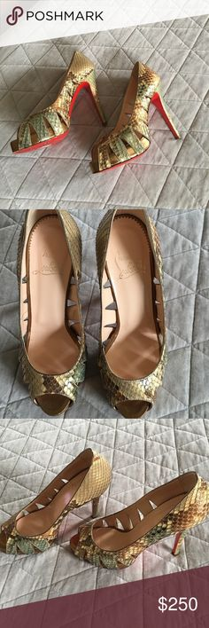 Christian Louboutin Python Peep Toe Pumps size 37 They were worn twice. Christian Louboutin Shoes Heels