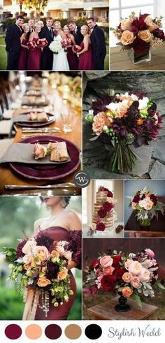 Decoration mariage automne burgundy and peach rustic fall wedding colors ideas Burgundy Wedding Colors, Fall Wedding Colors, Burgundy Color, Wedding Color Schemes Fall Rustic, Fall Wedding Themes, Peach Colors, Navy Wedding Colour Theme, Burgundy Wedding Dresses, Burgundy Champagne Wedding