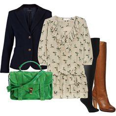 tall boots, blazer, green purse
