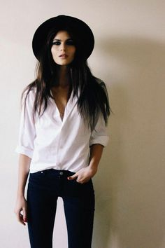 Beautiful style with black hat