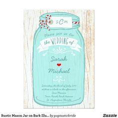 Rustic Mason Jar on Bark Illustrated Wedding Card