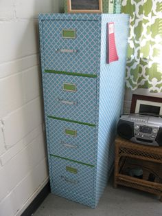 Contact paper covered file cabinet