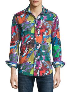 Cholla+Cactus+Printed+Long-Sleeve+Sport+Shirt,+Multicolored+by+Robert+Graham+at+Neiman+Marcus.
