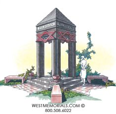 West Memorials - mausoleum and columbarium design with stairs and benches 2017 Design, Beautiful Birds, Granite, Floral Arrangements, Gazebo, Stairs, Bronze, Outdoor Structures, Memories