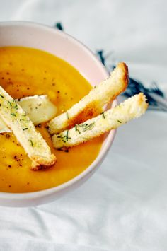 Pear & butternut squash soup with rosemary croutons. I MEAN.